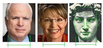 Linhas faciais de McCain, Palin e Davi
